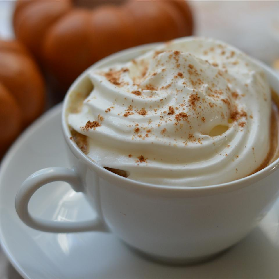 pumpkin spice latte in a white cup with whipped cream and cinnamon
