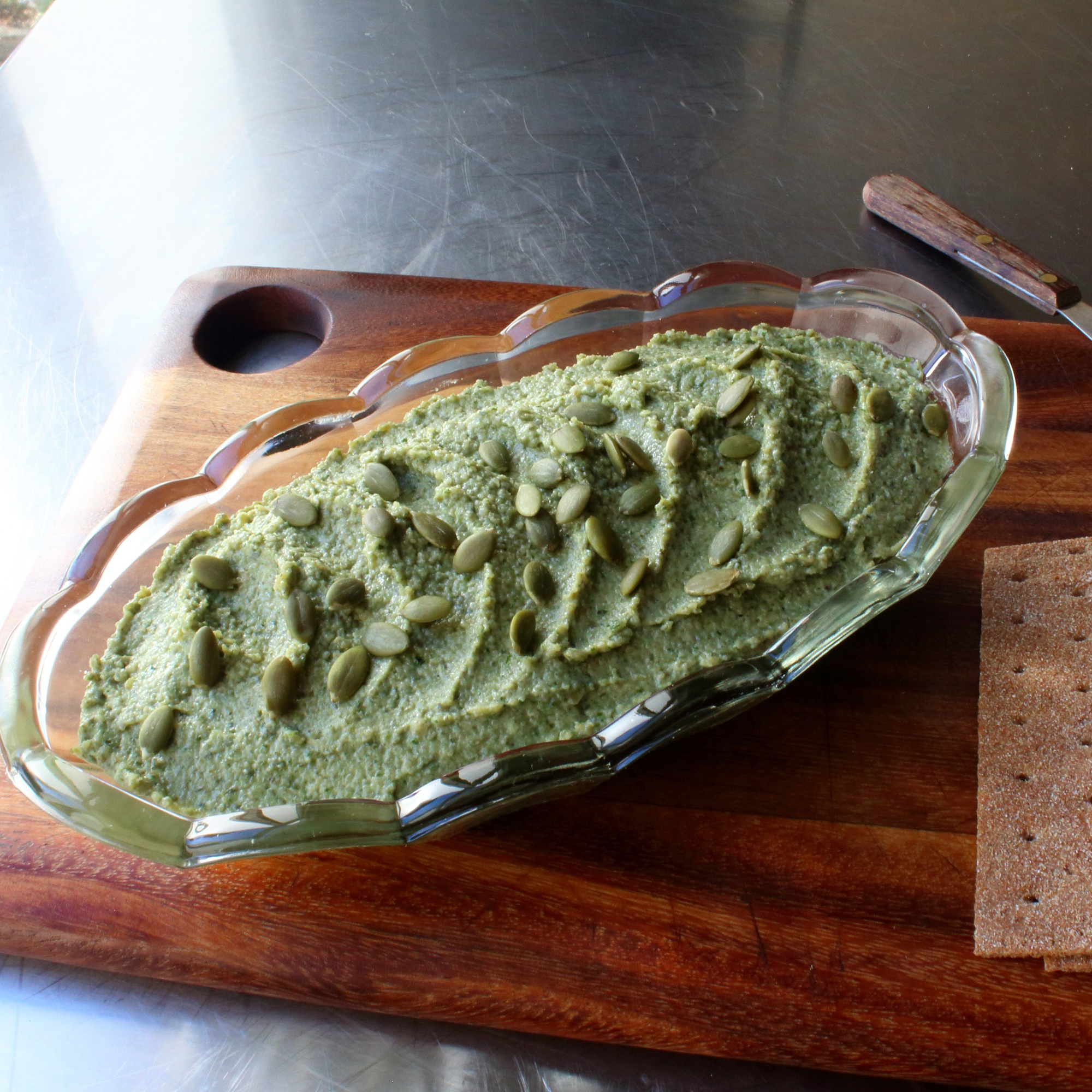 Pumpkin Seed Spread on a wooden background