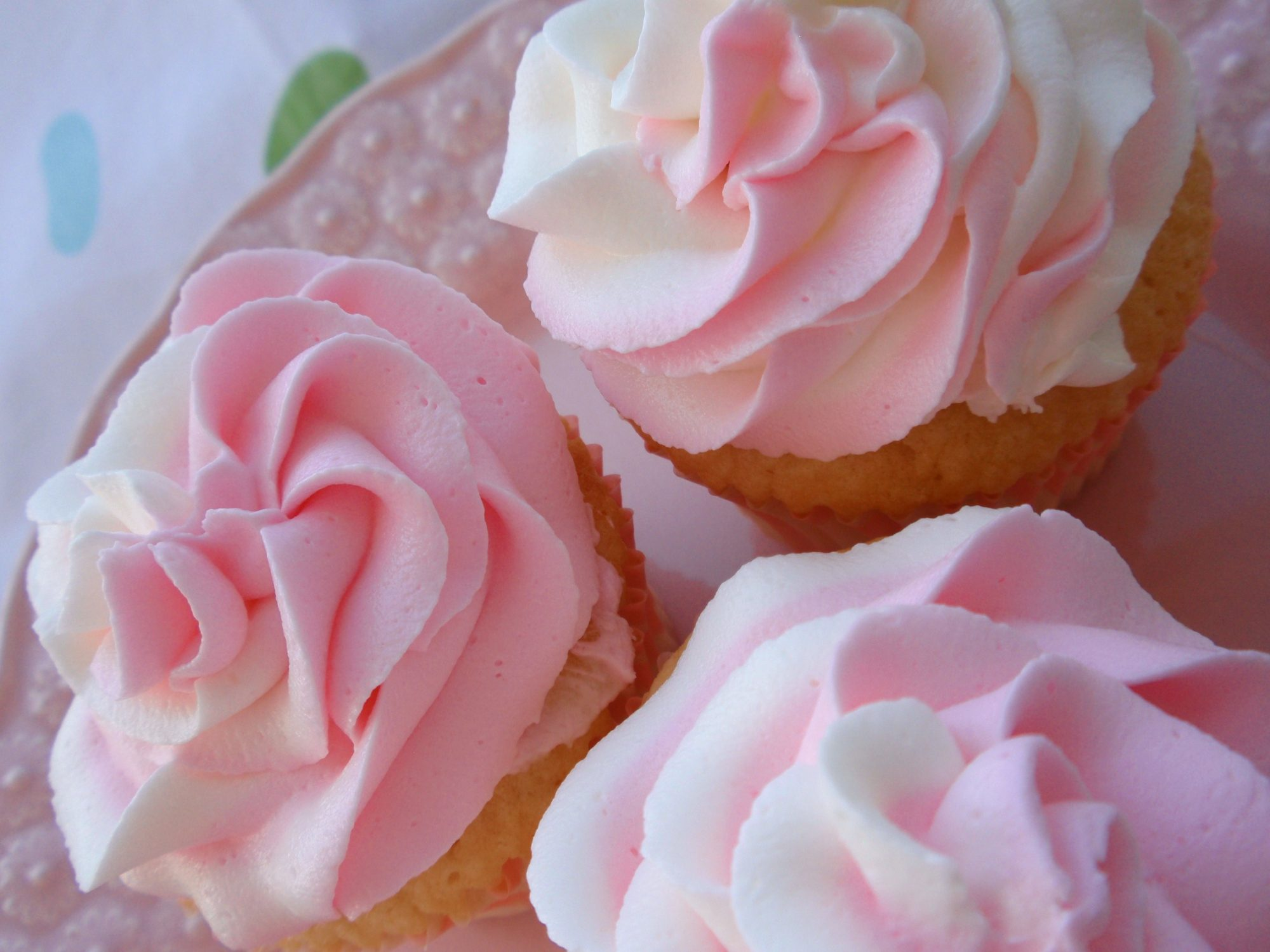 Pink and white tinted frosting piped like rose petals on cupcakes