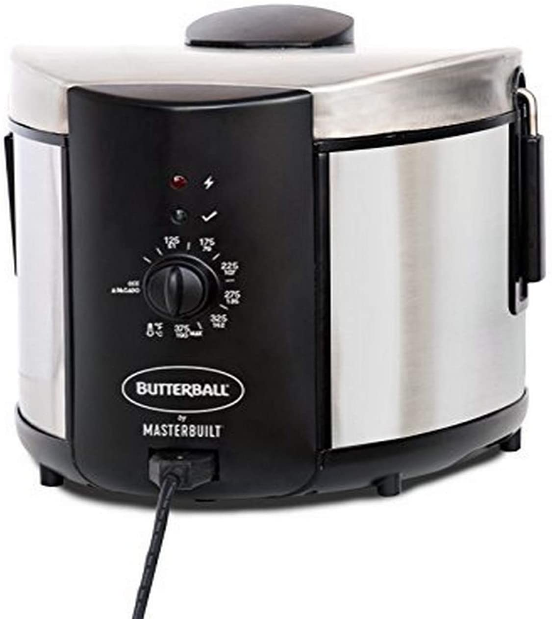Stainless Steel and Black Electric Fryer with cord