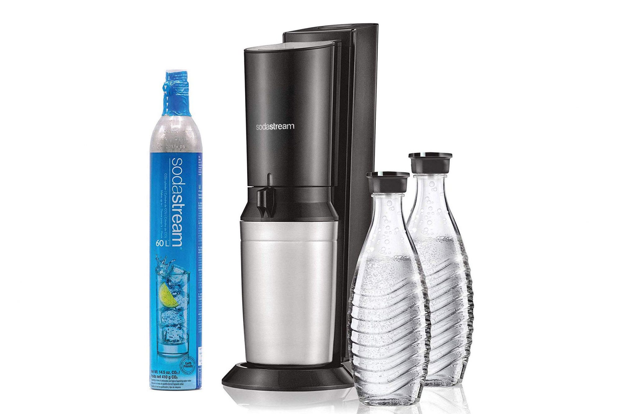 SodaStream Aqua Fizz Premium soda maker with two soda bottles and one CO2 canister refill