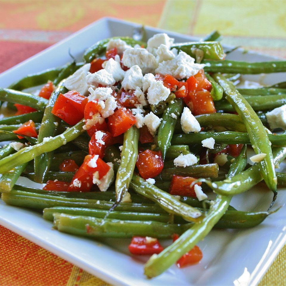 Arica's Green Beans and Feta on a white plate