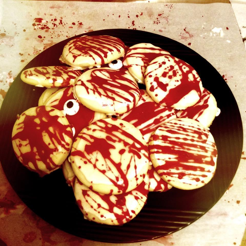sugar cookies with icing that looks like blood