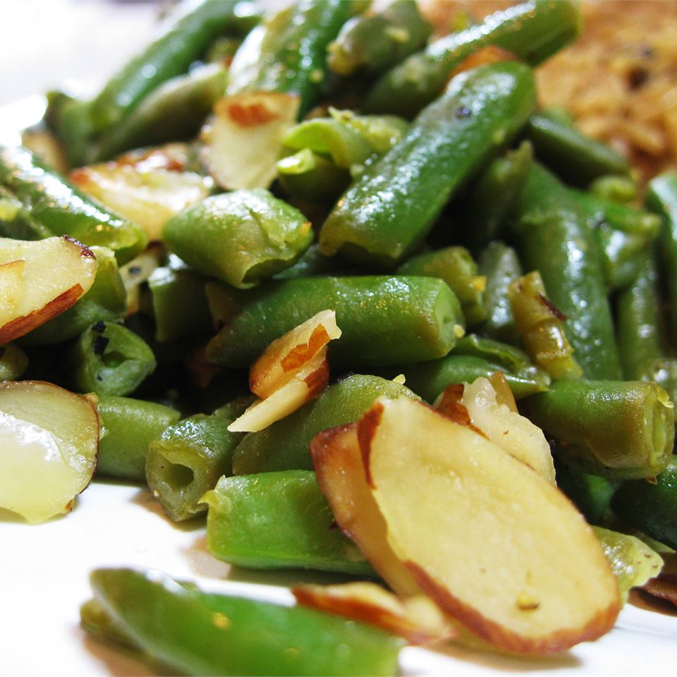 Lemon Pepper Green Beans on a white background