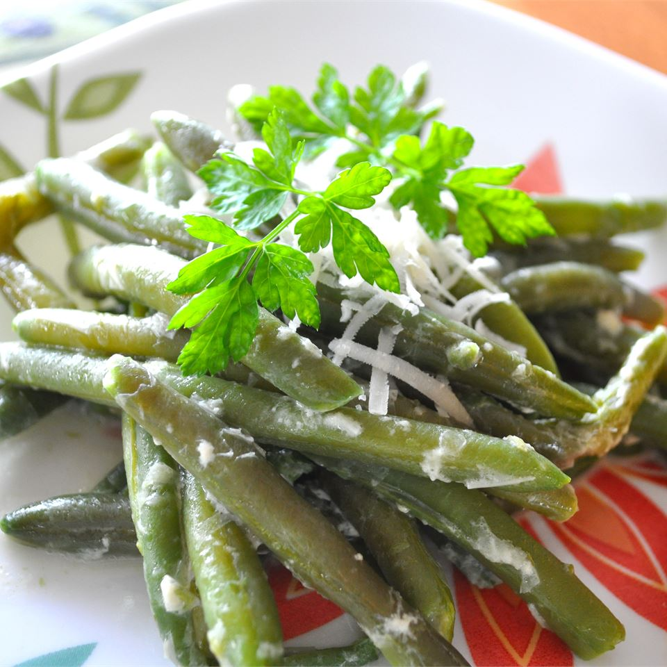 Creamy Green Beans Parmesan topped with parsley