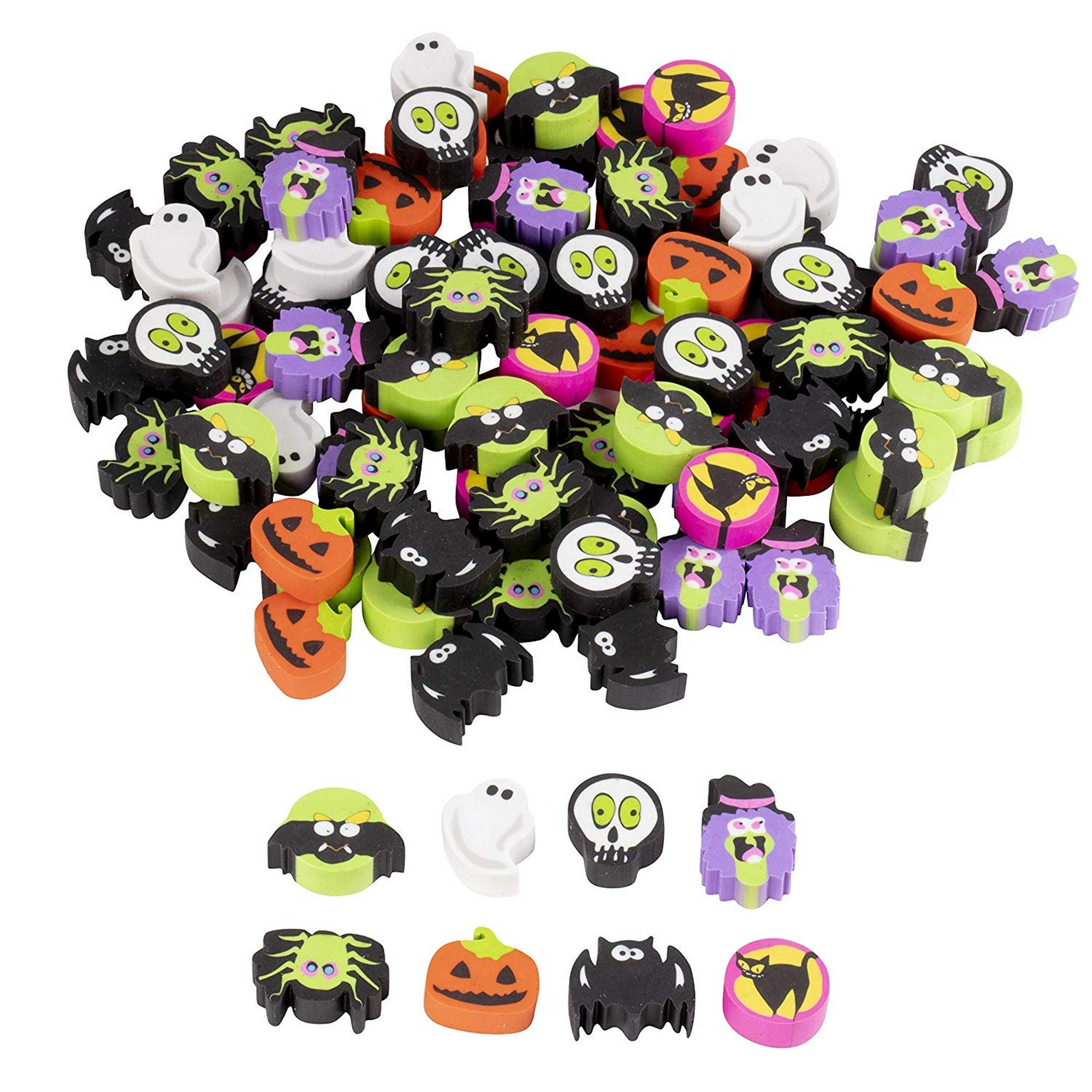 Halloween erasers with bats, pumpkins, and ghosts