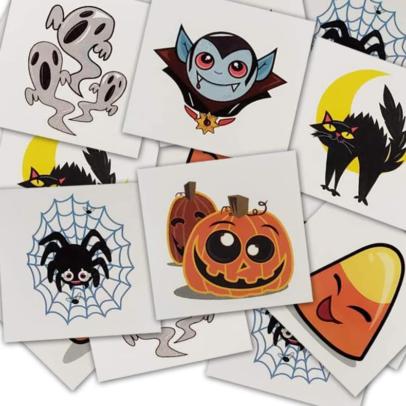 Halloween temporary tattoos with spiders, pumpkins, and vampires