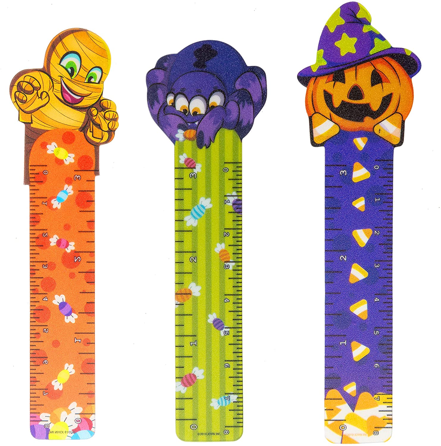 Halloween bookmarks decorated with mummies, spiders, and pumpkins