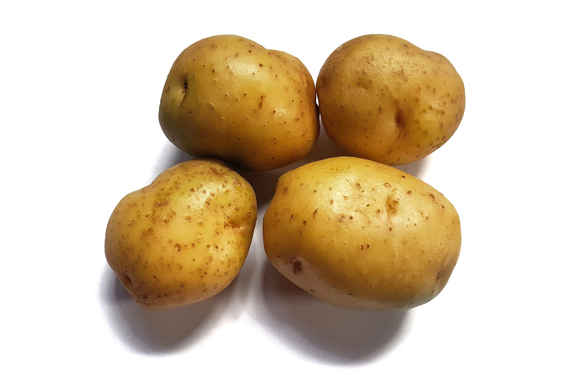 Close-Up Of Potatoes On White Background
