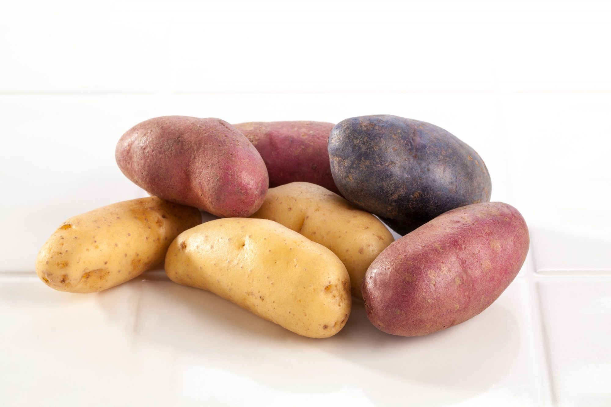 Multicolored fingerling potatoes