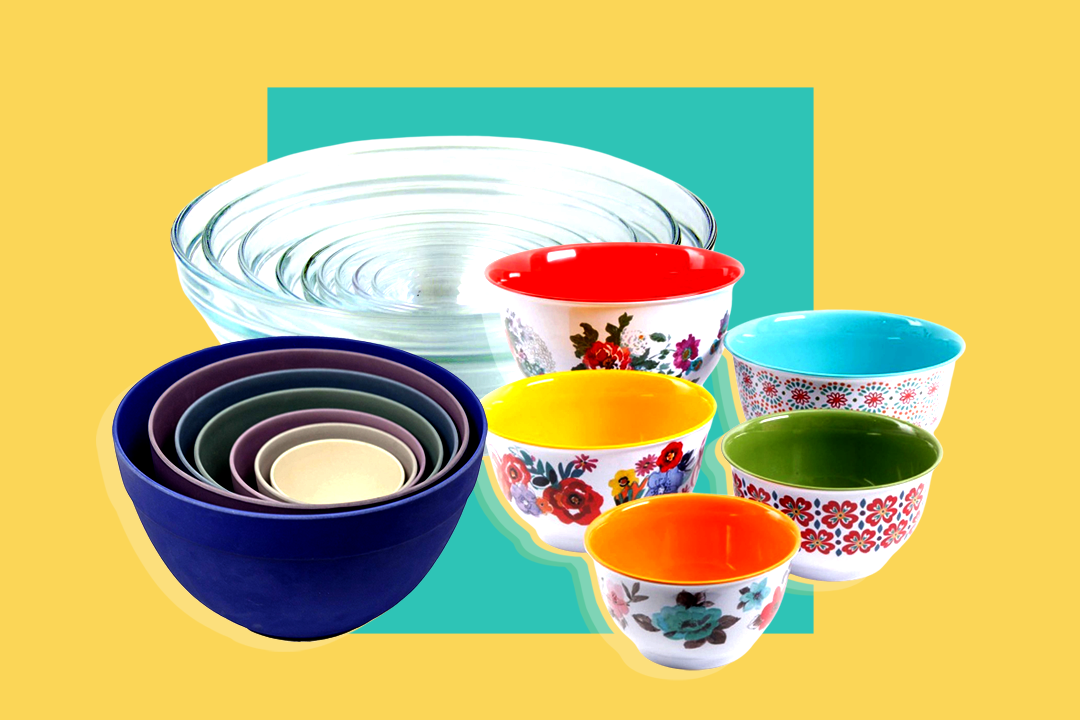 Three sets of mixing bowls on a yellow background with a teal square