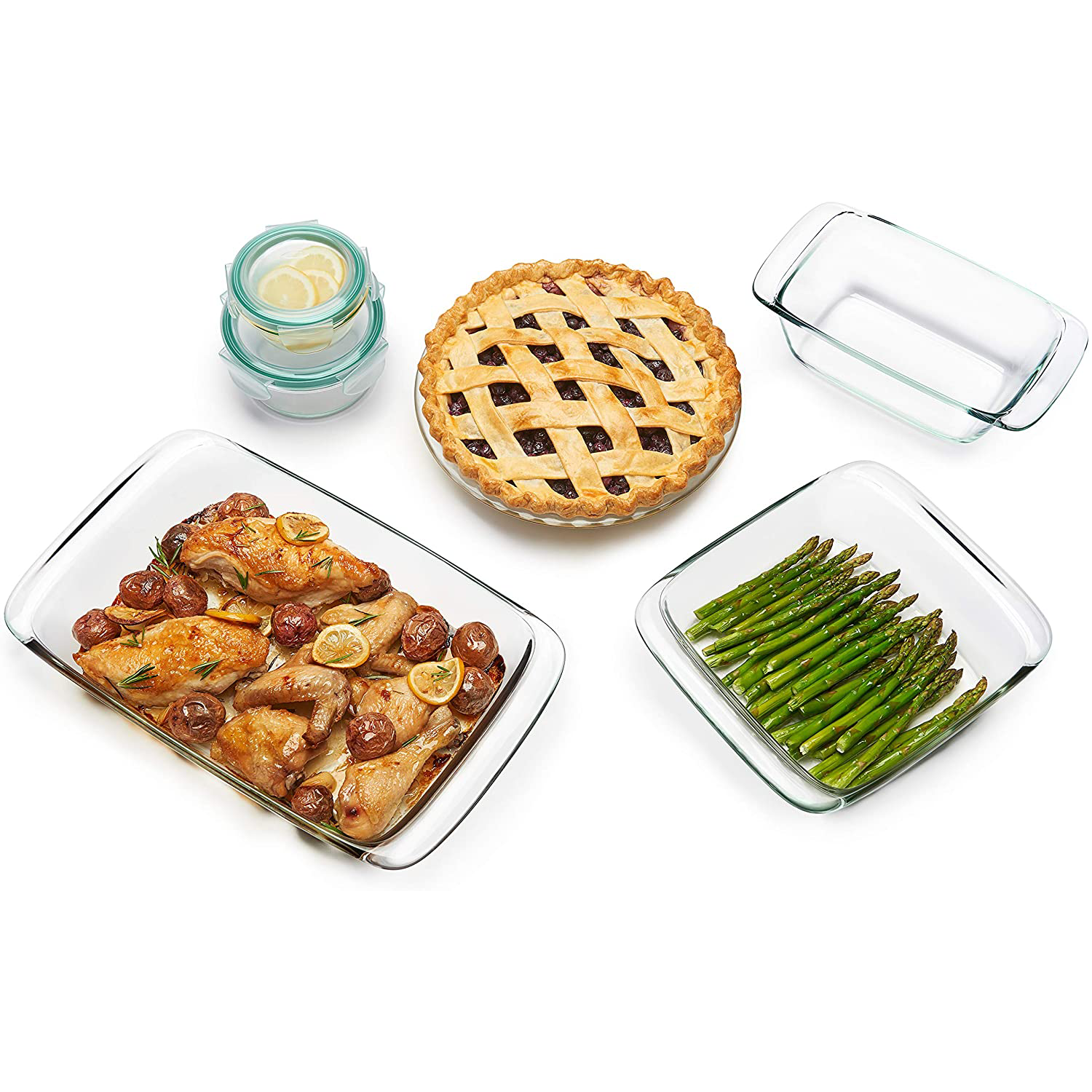 OXO Good Grips 8 Piece Freezer-to-Oven Safe Glass Bake with roasted chicken, pie, and asparagus spears on white