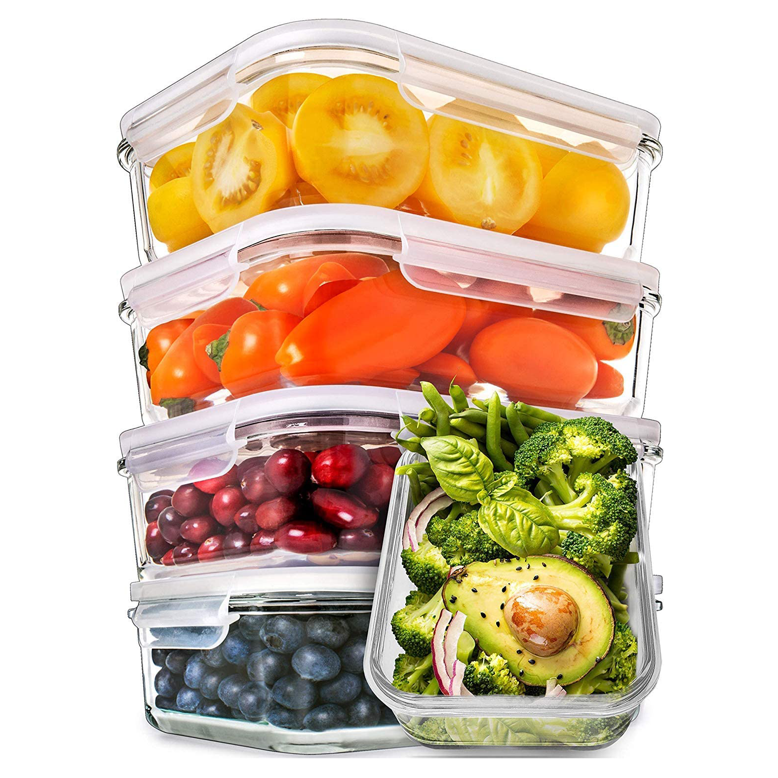 Prep Naturals Glass Meal Prep Containers on white background