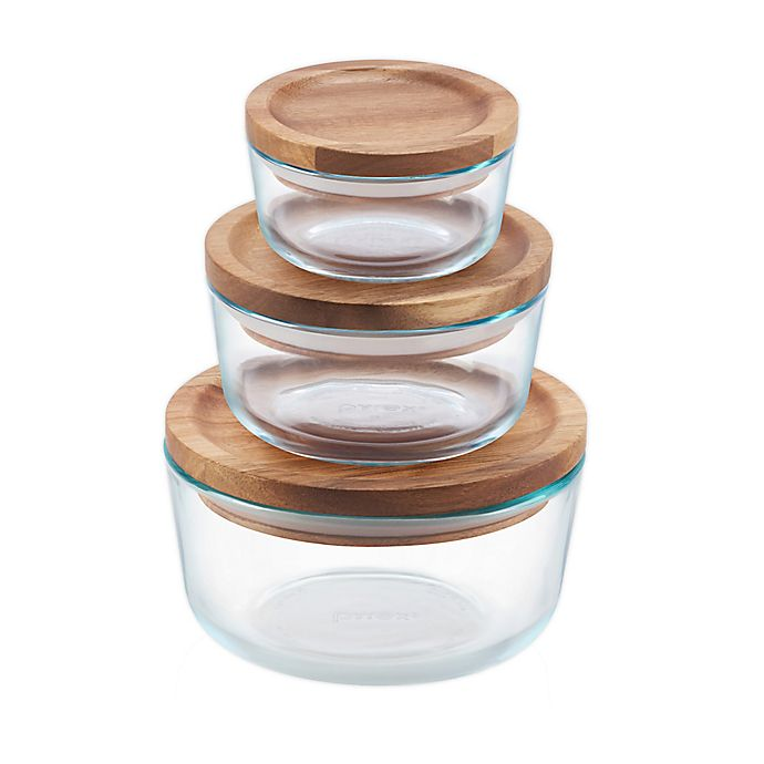 Pyrex 6-piece Glass Food Storage Container Set with Wood Lids