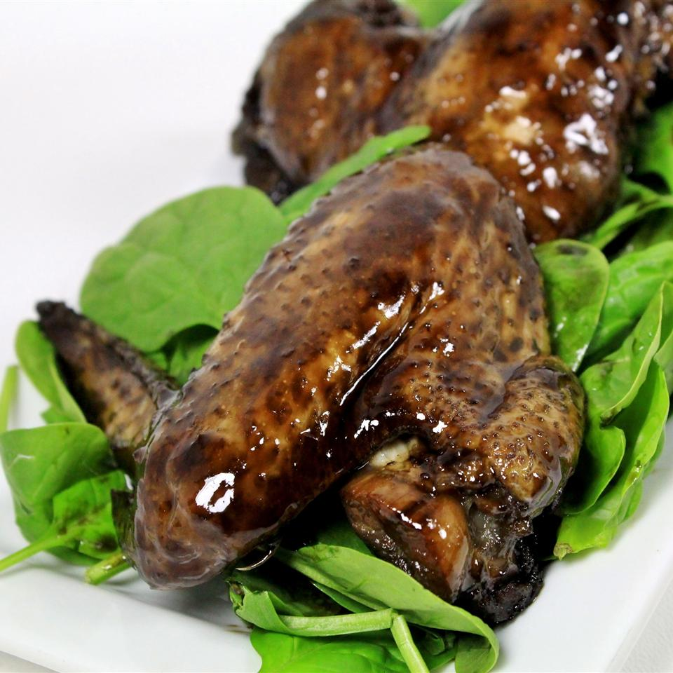 Halloween Black Bat Wings over spinach
