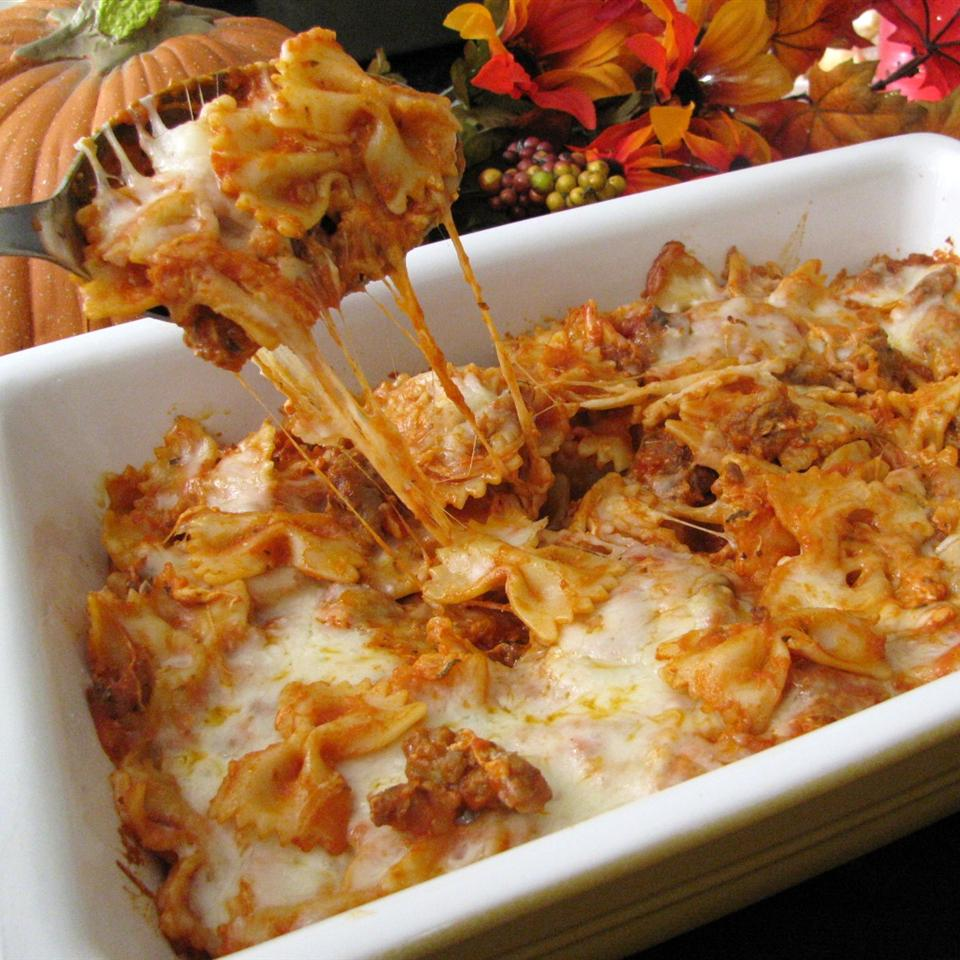 Bats and Cobwebs baked pasta in a white dish