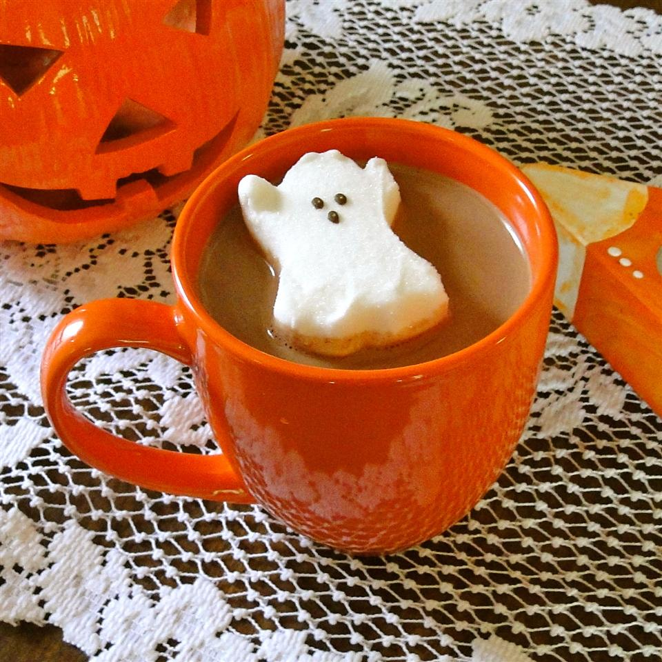 cup of hot chocolate with ghost marshmallow