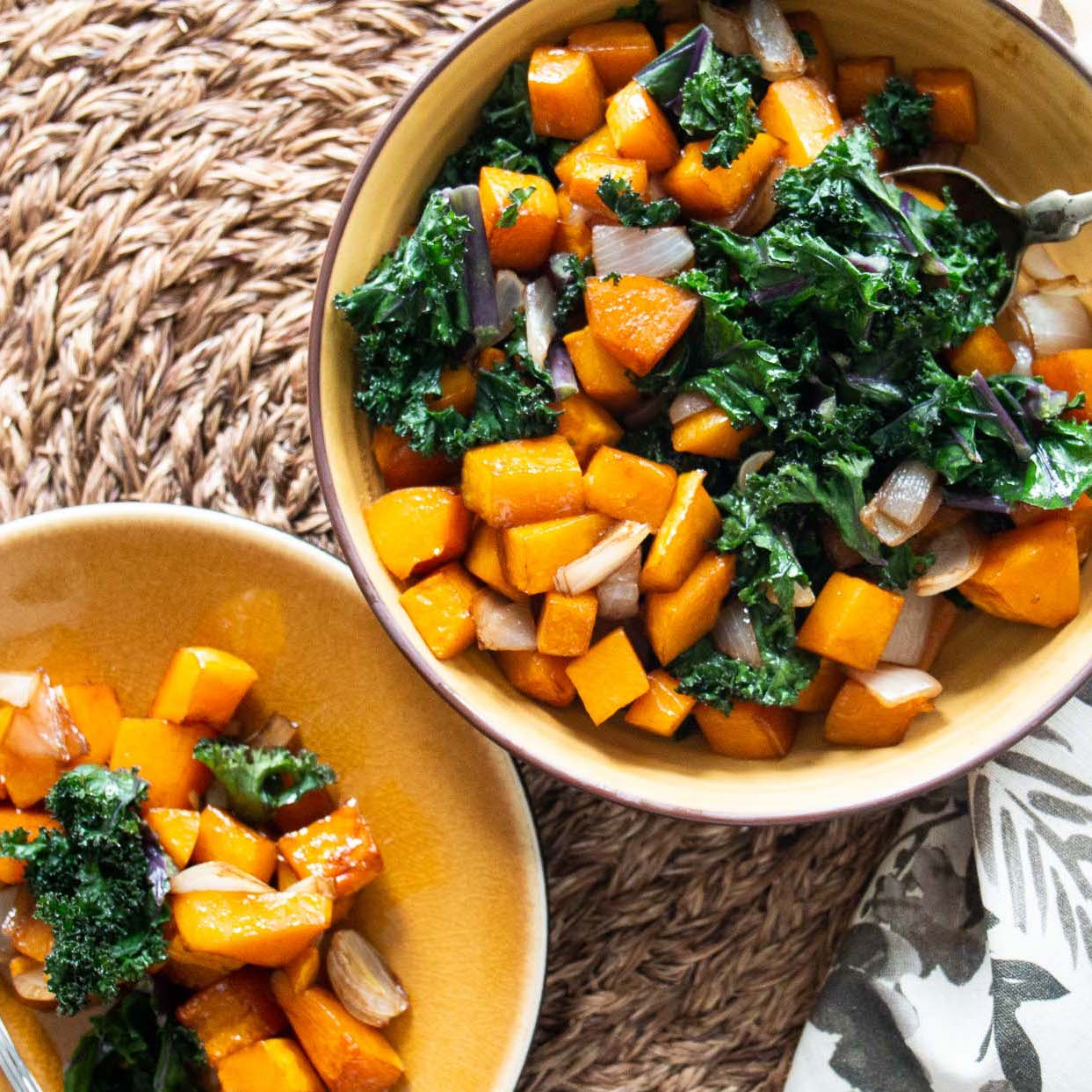 serving bowl and plate of Balsamic Butternut Squash with Kale