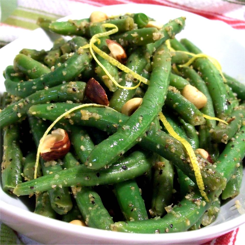 bowl of Green Beans with Hazelnuts and Lemon