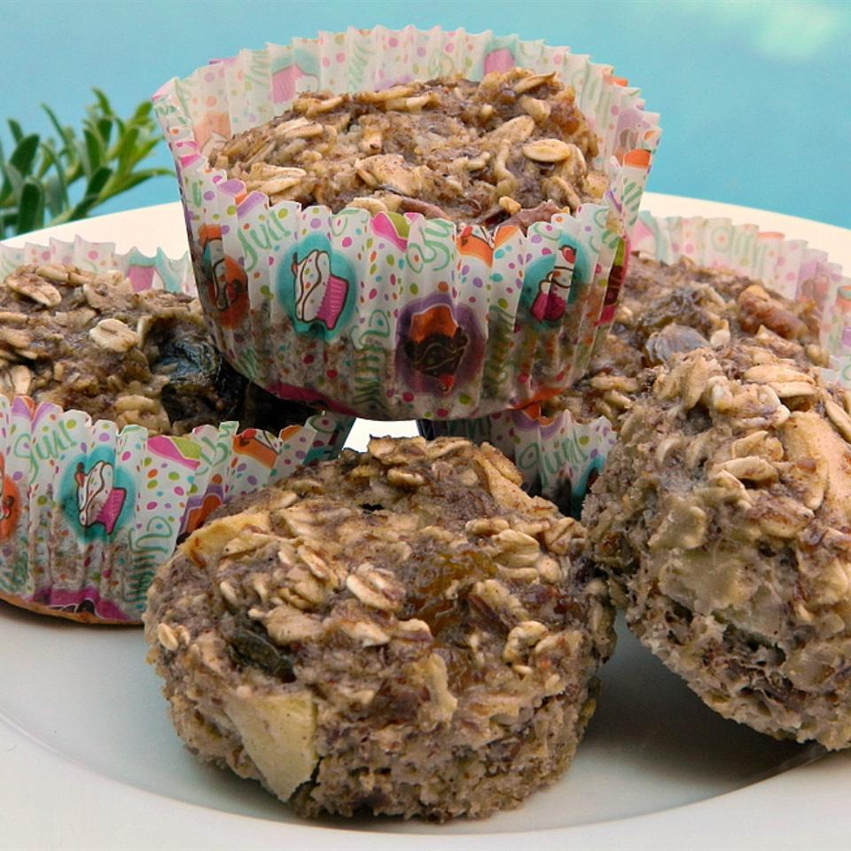 Baked oatmeal muffins on white plate