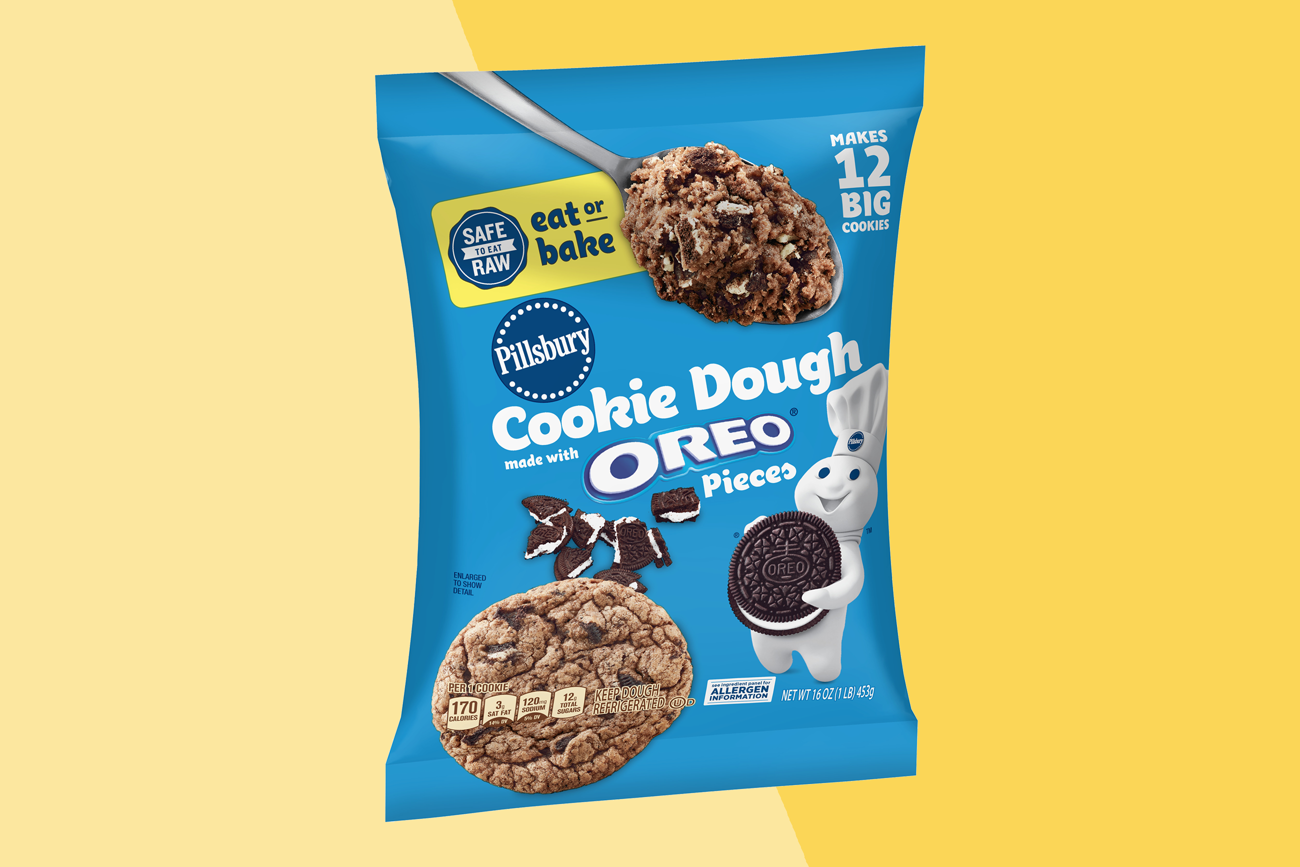 a package of Pillsbury Cookie Dough made with OREO cookie pieces on a two-tone yellow background
