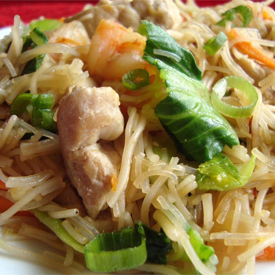 Pork and Shrimp Pancit on a white plate