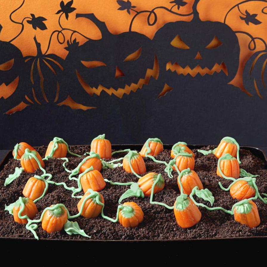 dirt cake with candy pumpkins