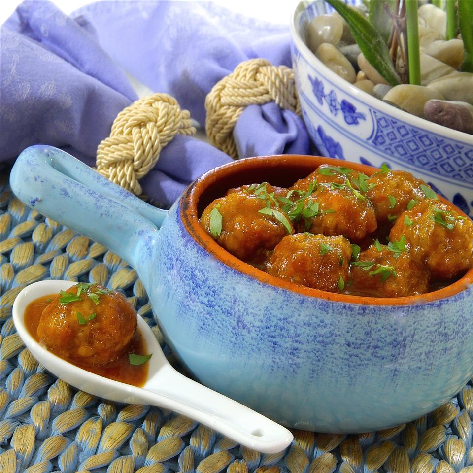 Cocktail Turkey Meatballs in a blue bowl