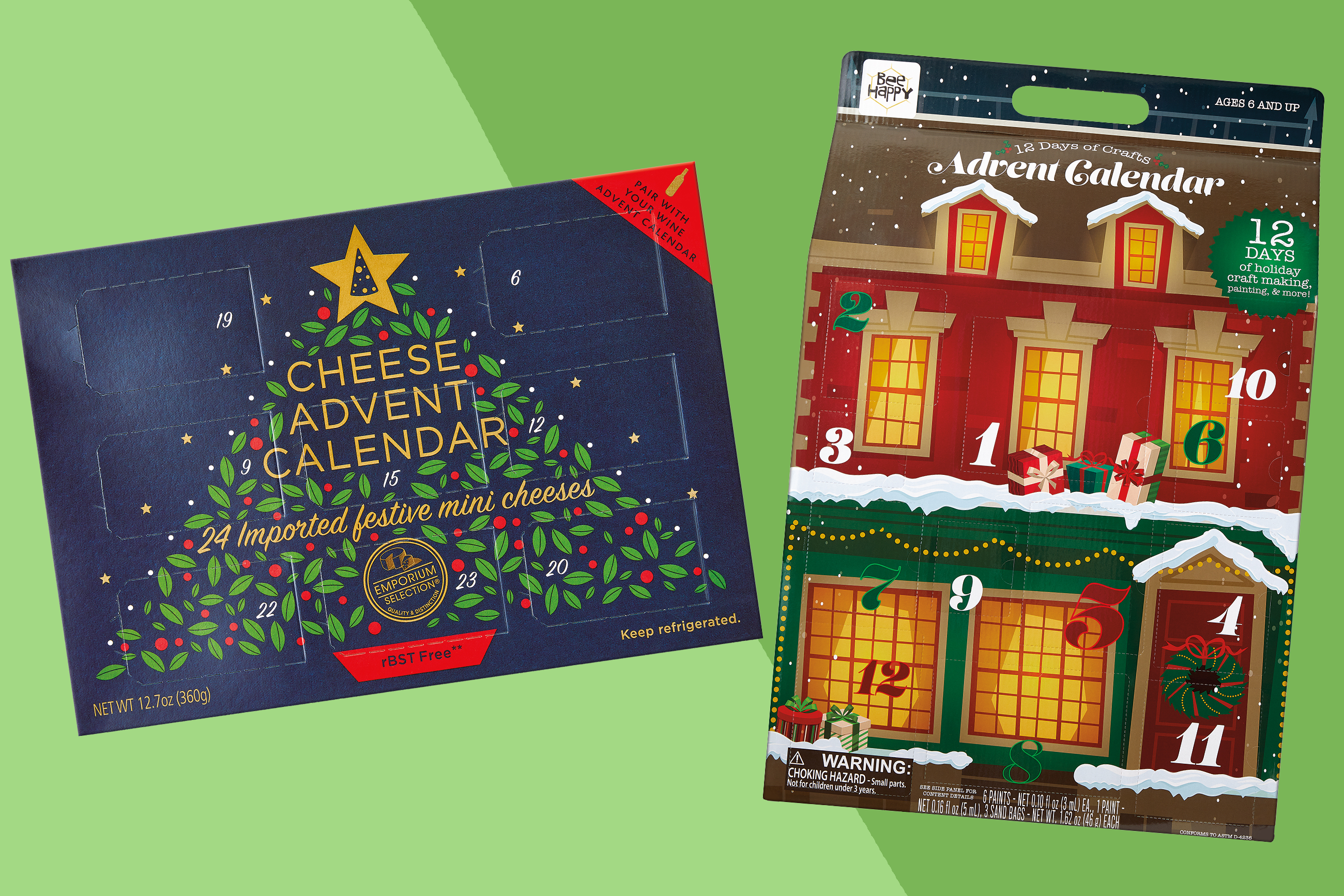 two of aldi's advent calendars for christmas 2020