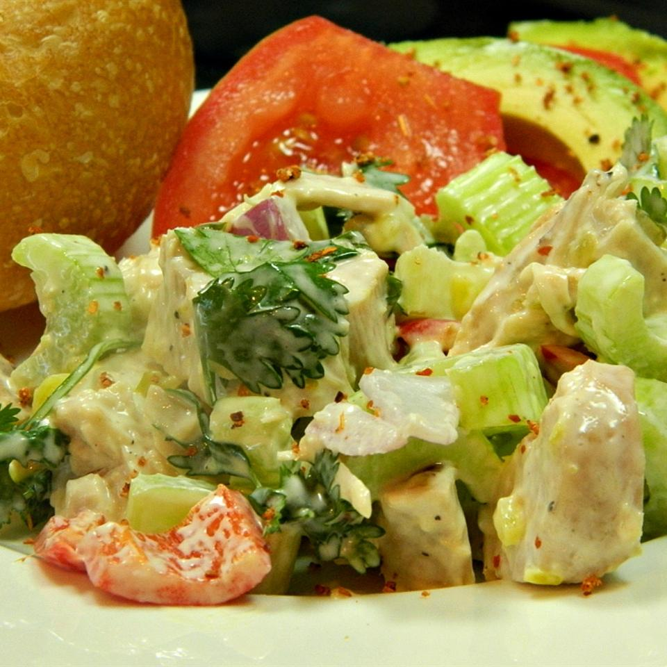 Turkey salad with celery, onion, bell pepper