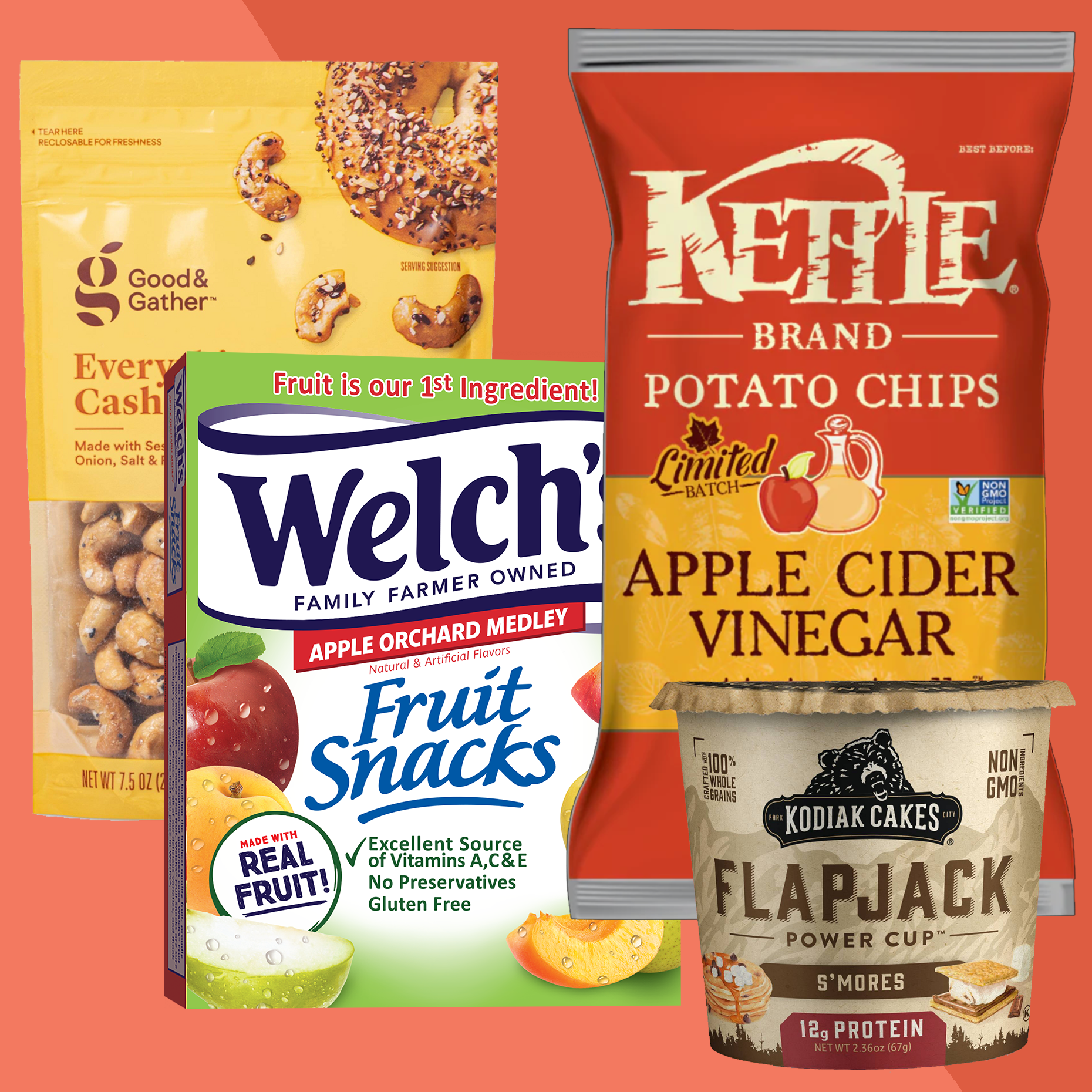 a bag of everything cashes, a box of welch's fruit snacks, a bag of kettle apple cider vinegar chips, and a cup of s'mores oatmeal
