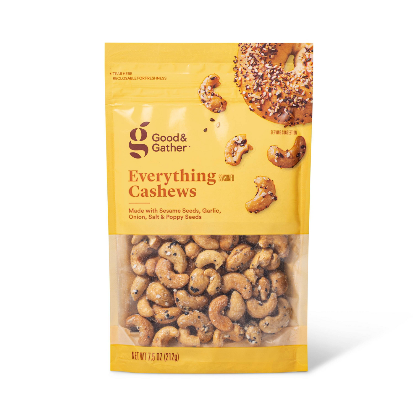 a bag of Everything Seasoned Cashews on a white background
