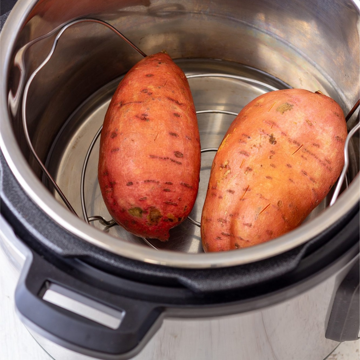 sweet potatoes ready to be cooked in an instant pot