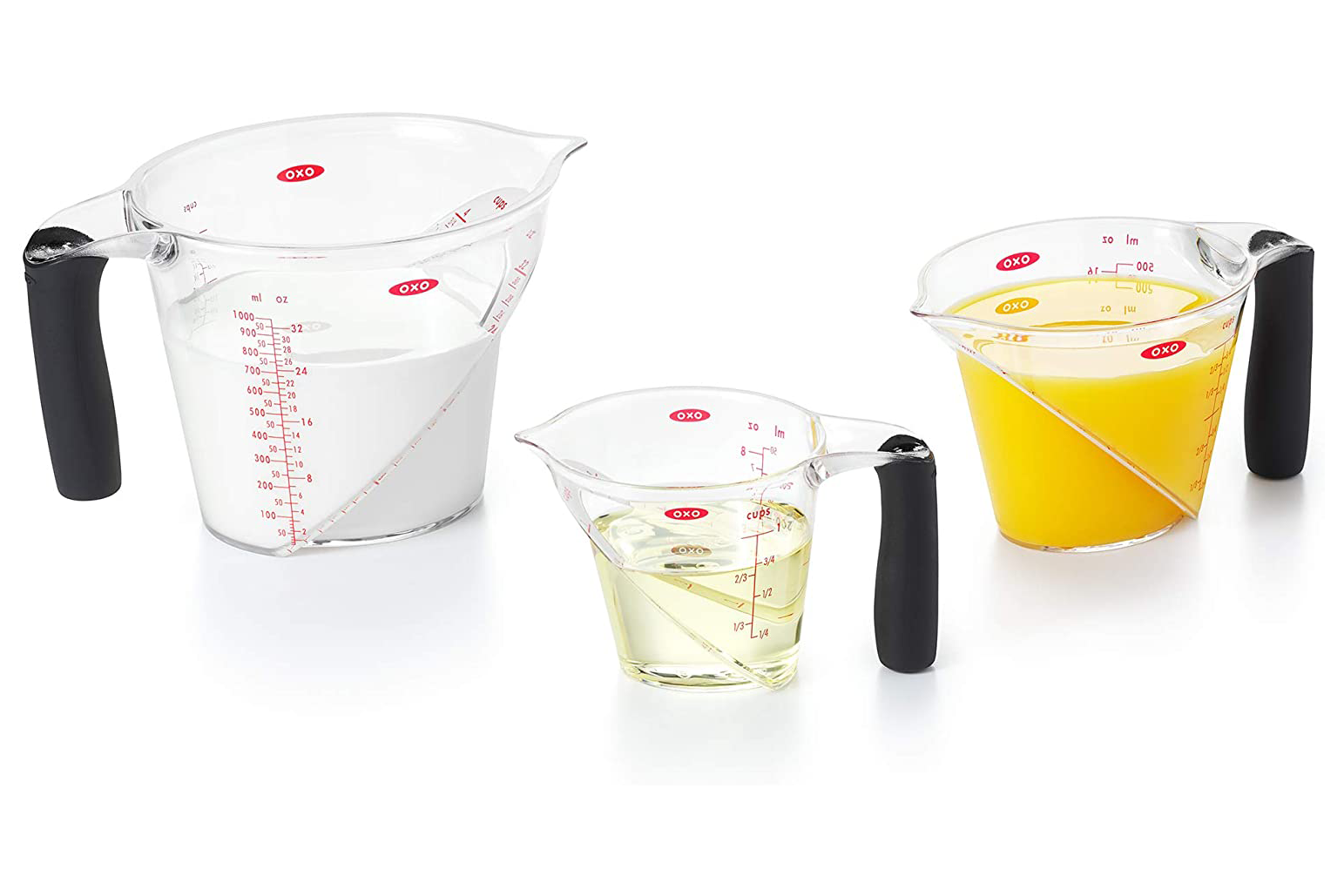 OXO Good Grips 3-Piece Angled Measuring Cup Set on a white background
