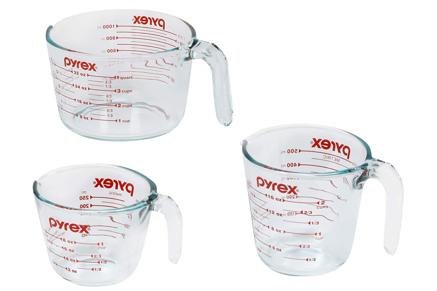 Pyrex Glass Measuring Cup Set on a white background