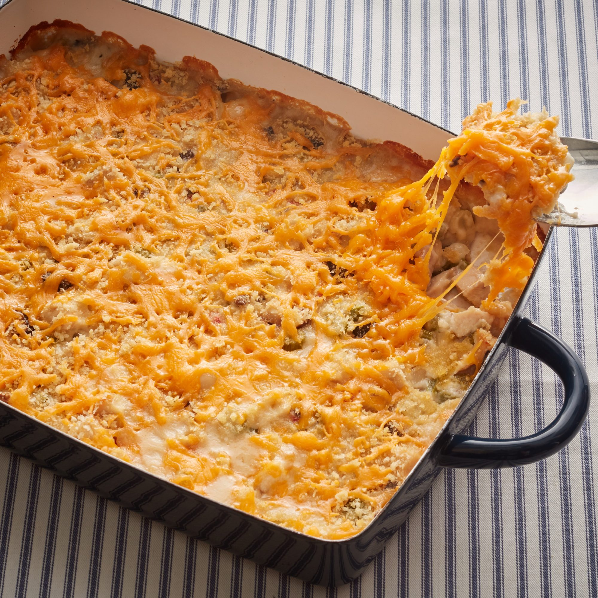 Turkey casserole with breadcrumbs and cheese