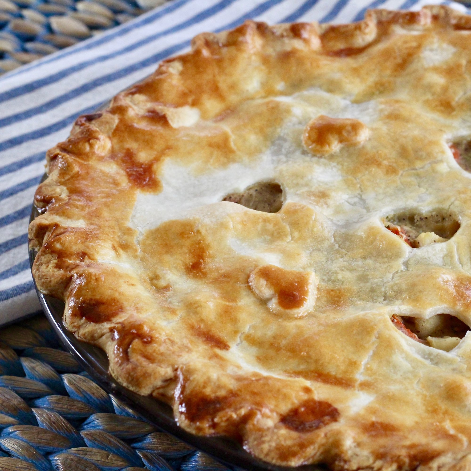 chicken pot pie with heart cut outs in the top crust