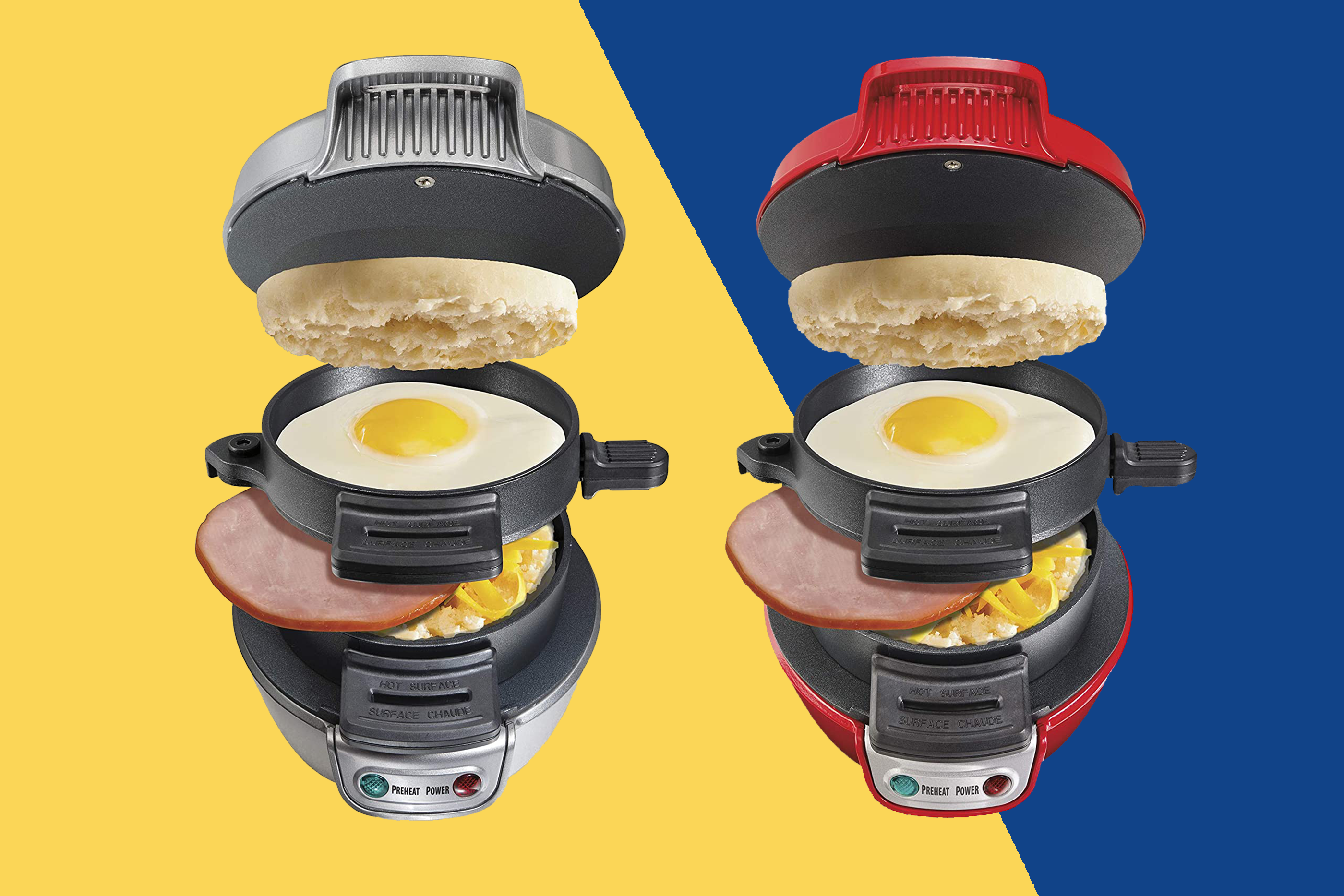 two hamilton beach sandwich makers on a yellow and blue background
