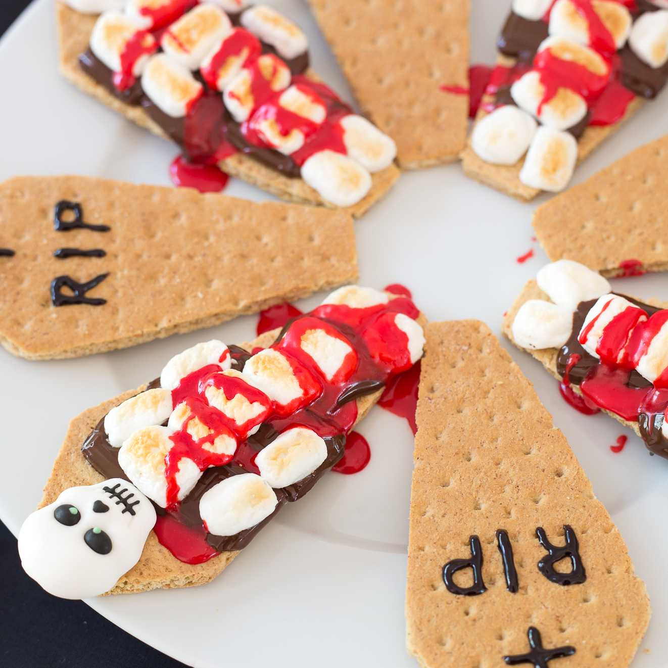 s'mores made to look like skeletons in coffins