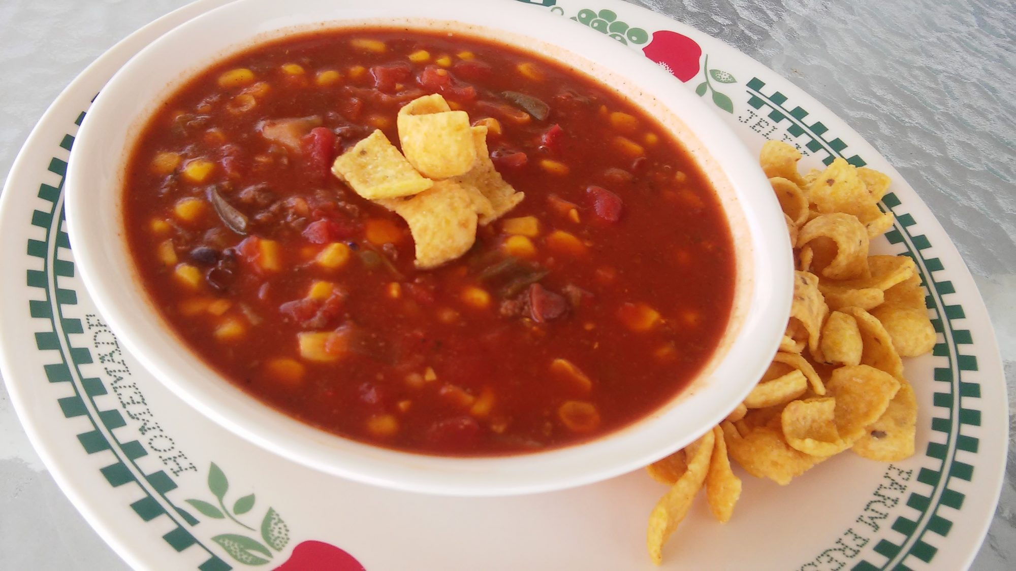 Soup with beans, corn, and tomatoes