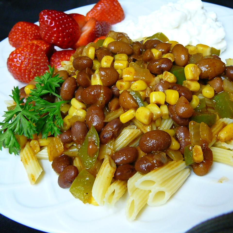 Pasta with chili on white plate