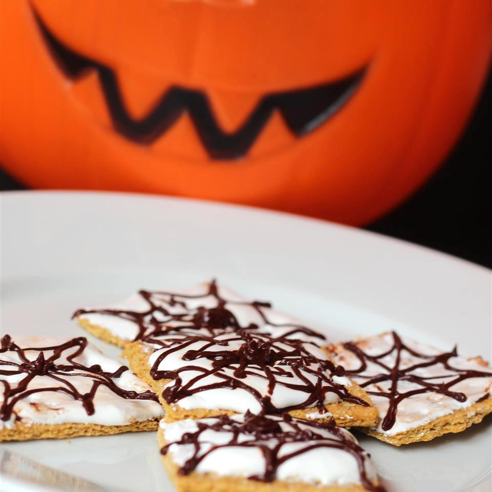 s'mores with spiderweb chocolate drizzle