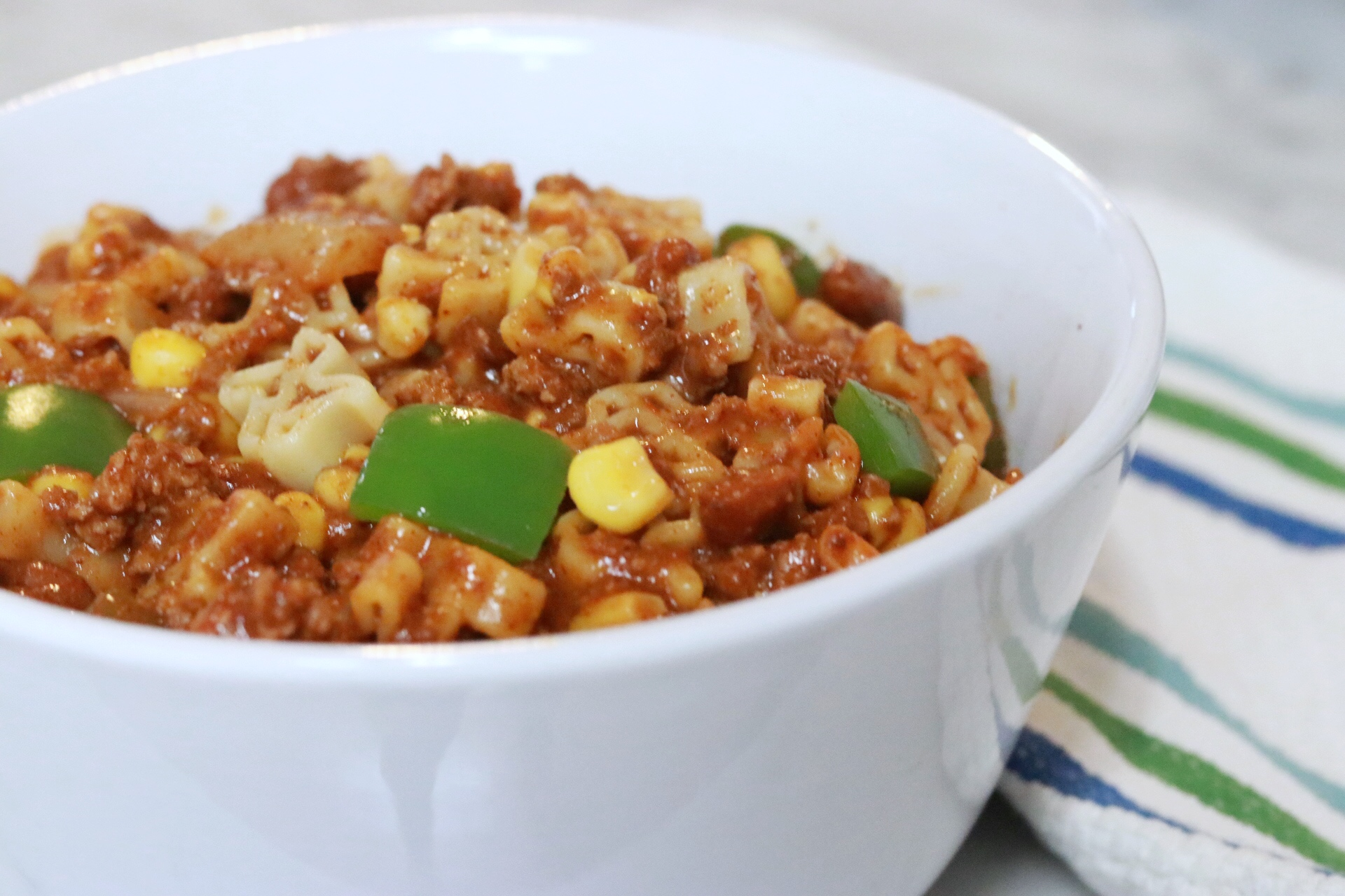 Pasta with chili, bell peppers, and corn