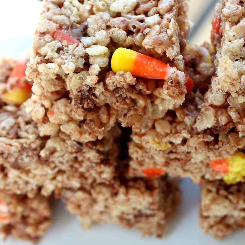 stack of crispy rice treats with candy corn