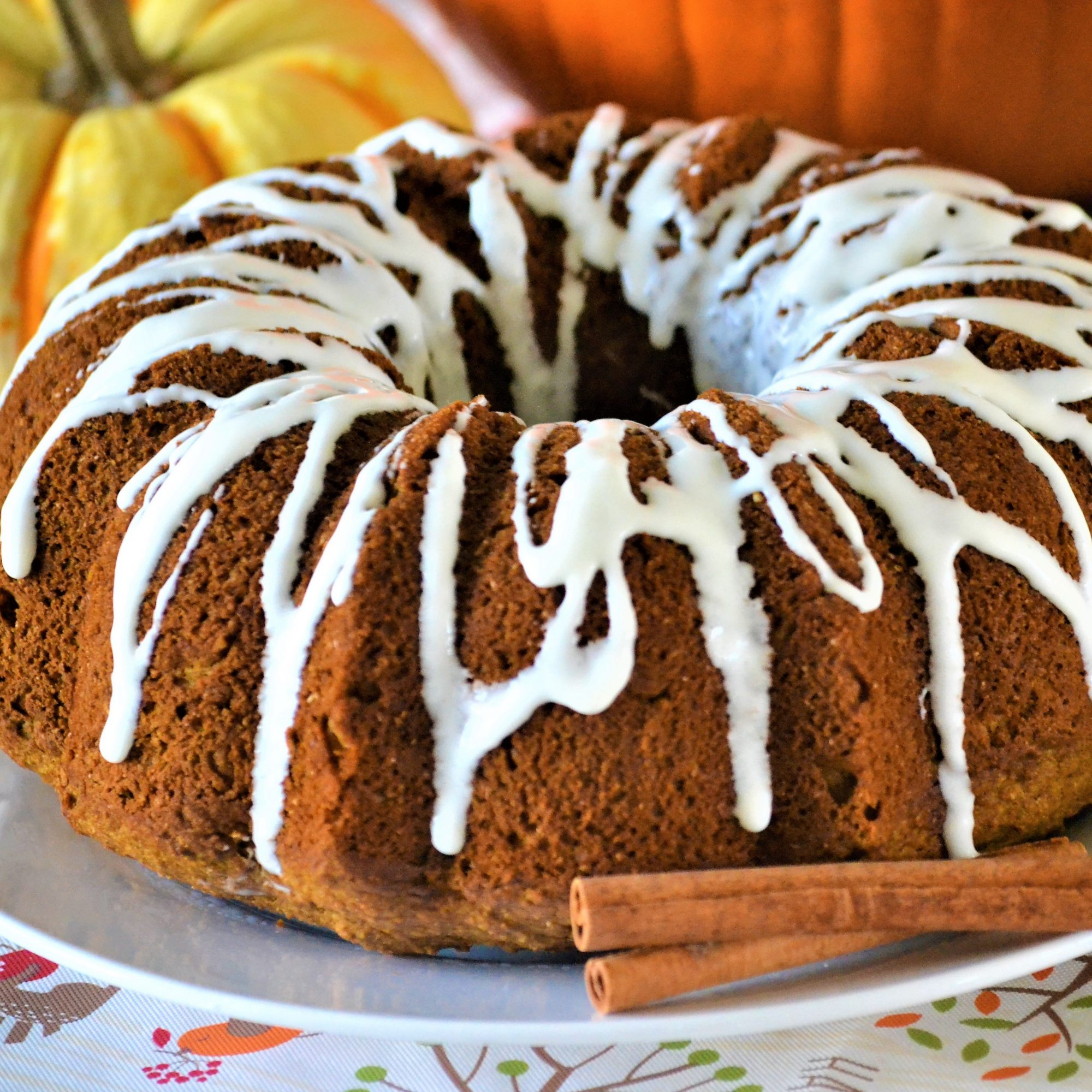 pumpkin Bundt cake with frosting drizzle