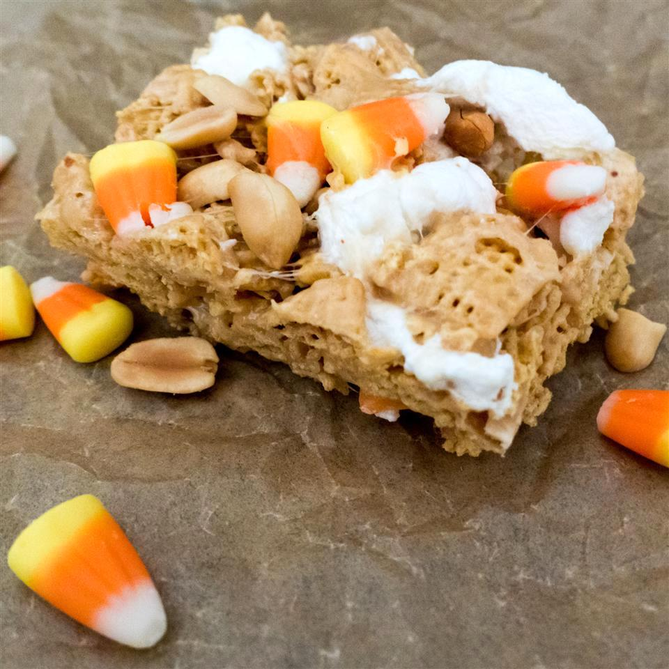 cereal bars with candy corn and marshmallows