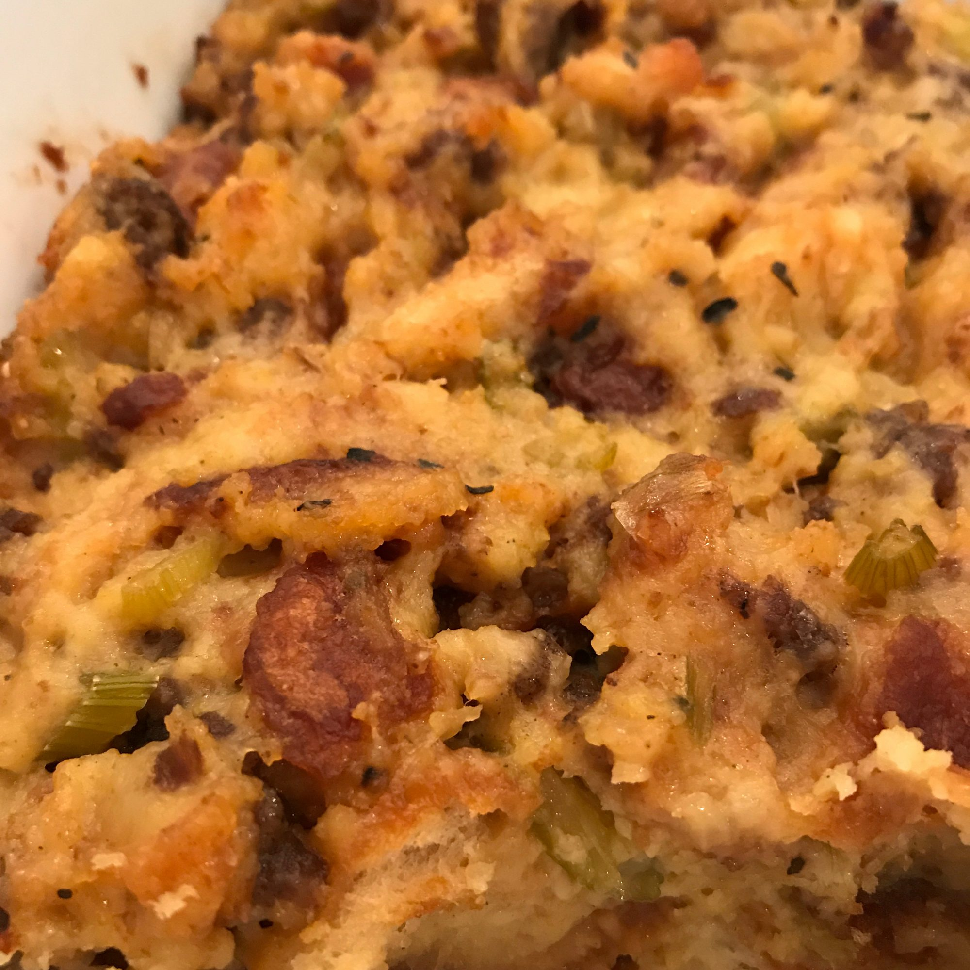 Hot, peppery chorizo works wonders in traditional corn bread stuffing. Combining cornbread, which hails from Africa, with Spanish-style chorizo, this dish seems fit for the melting pot that is New York.