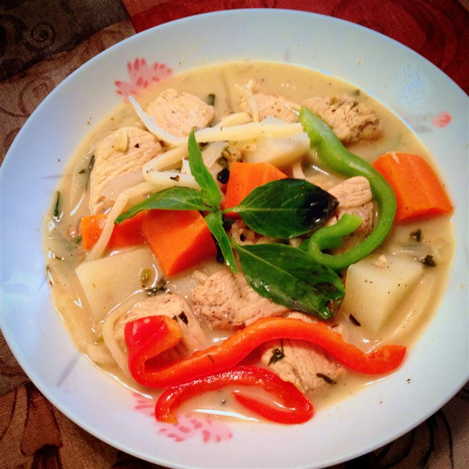 Thai Chicken Curry in Coconut Milk in a flowered plate