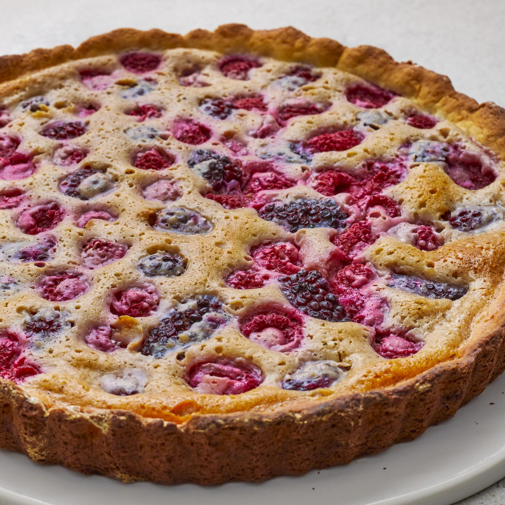 Close-up on berry custard tart