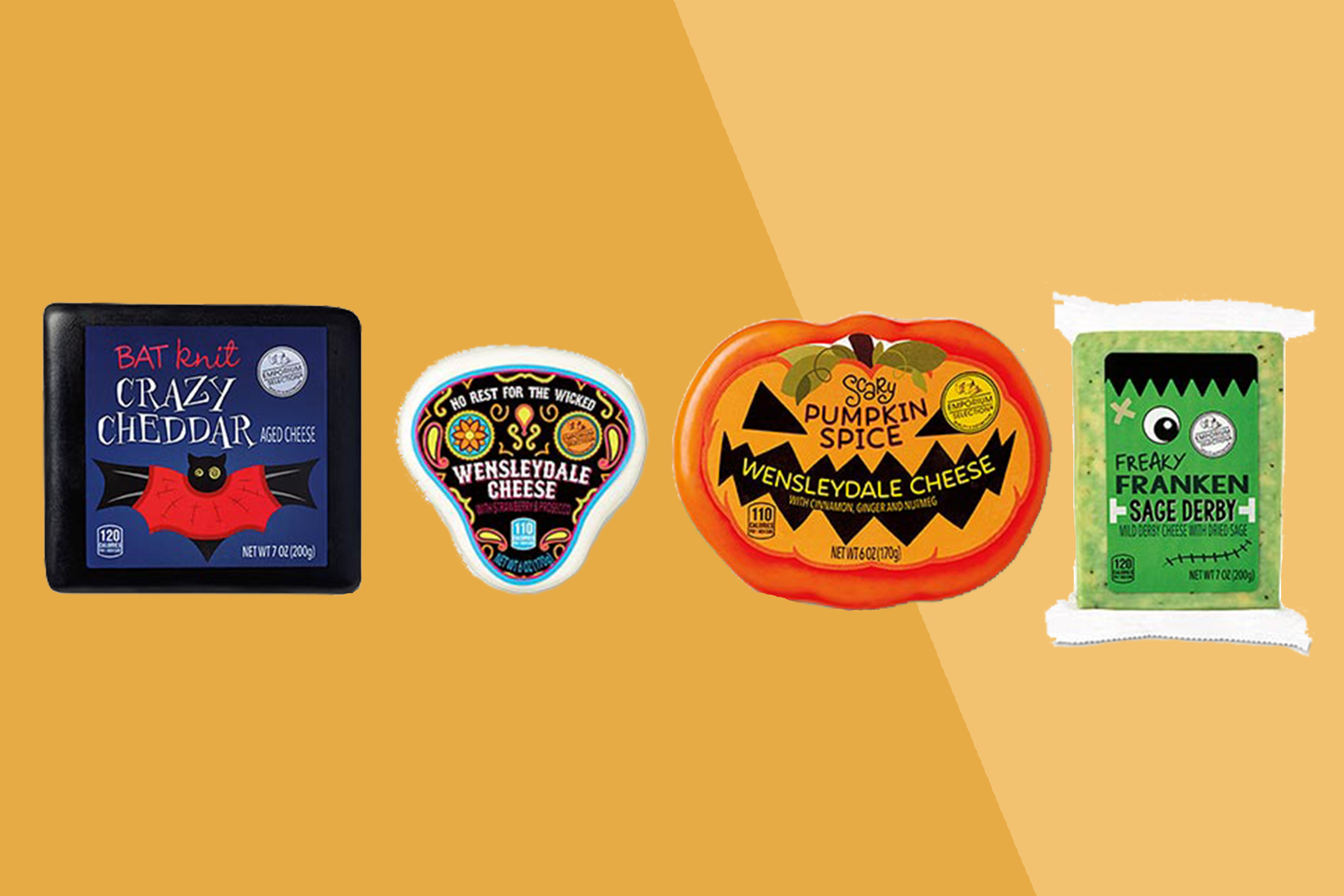 four halloween-themed cheeses from aldi on a two-tone orange backgroung